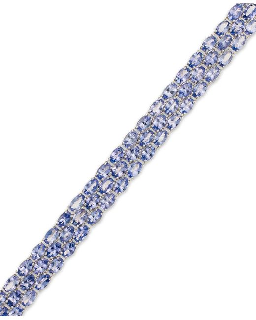 Macy's | Blue Tanzanite (25 Ct. T.w.) Three-row Bracelet In Sterling Silver | Lyst