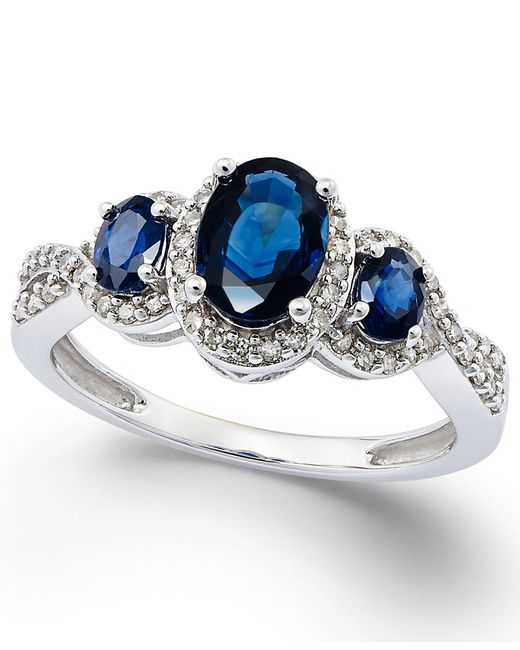 Macy's | Blue Sapphire (1-1/3 Ct. T.w.) And Diamond (1/4 Ct. T.w.) Three-stone Ring In 14k White Gold | Lyst