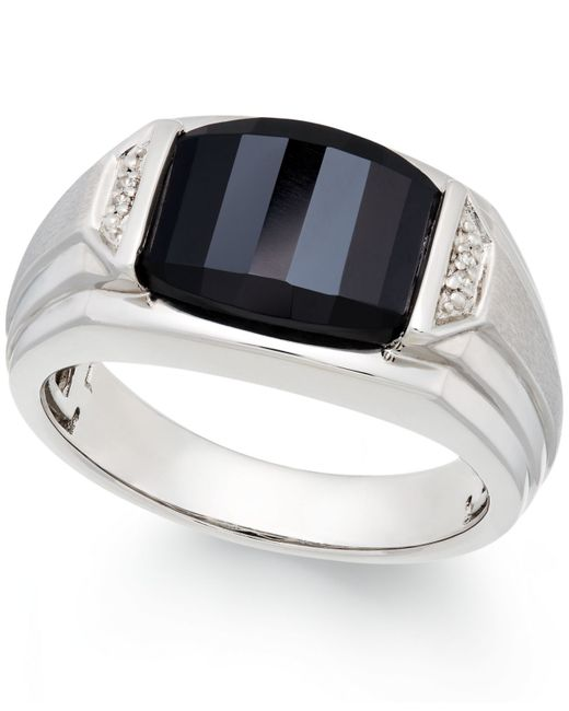 Macy's   Black Men's Onyx (4-1/2 Ct. T.w.) And Diamond Accent Ring In Sterling Silver   Lyst