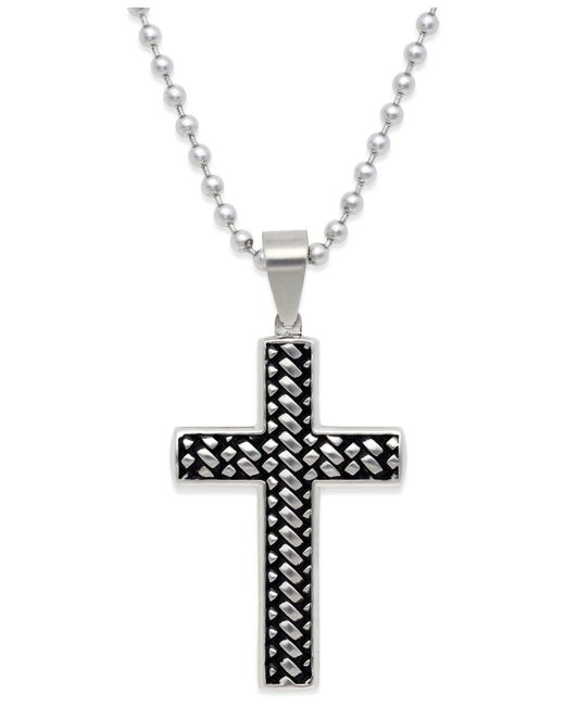 Macy's | Metallic Men's Woven Cross Pendant Necklace In Stainless Steel for Men | Lyst