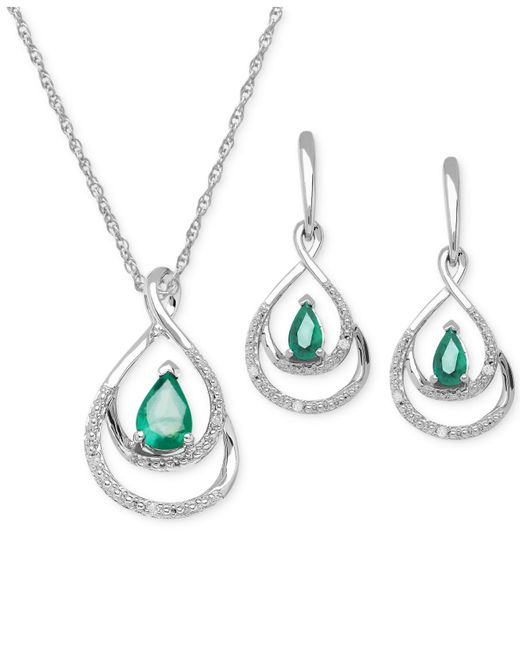 Macy's | Metallic Emerald (7/8 Ct. T.w.) And Diamond Accent Jewelry Set In Sterling Silver | Lyst