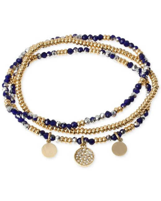 Kenneth Cole | Metallic Two-tone Blue Faceted Bead Stretch Bracelet Set | Lyst