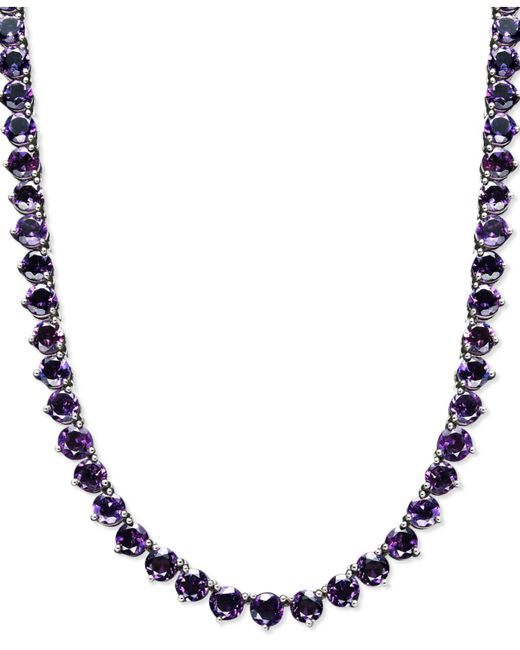 Macy's - Metallic Sterling Silver Necklace, Amethyst Necklace (30 Ct. T.w.) - Lyst
