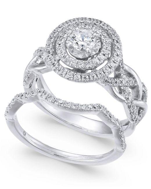 Macy's - Metallic Diamond Braided Double Halo Bridal Set (1 Ct. T.w.) In 14k White Gold - Lyst