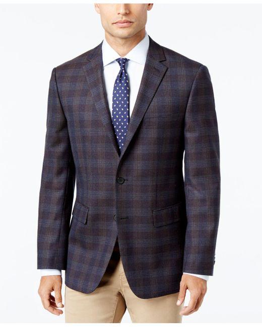 Vince Camuto | Gray Men's Slim-fit Brown/blue Plaid Wool Sport Coat for Men | Lyst