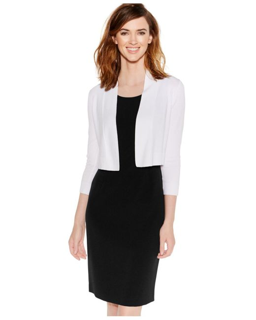 Calvin Klein | White Long-sleeve Open Cropped Cardigan | Lyst
