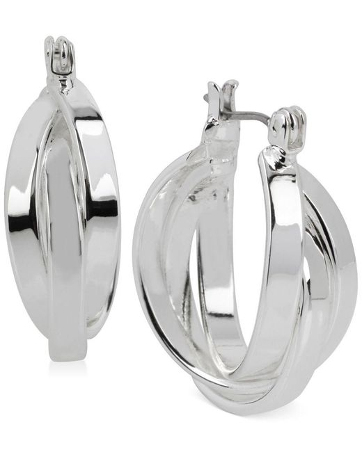 Kenneth Cole | Metallic Silver-tone Multi-row Hoop Earrings | Lyst
