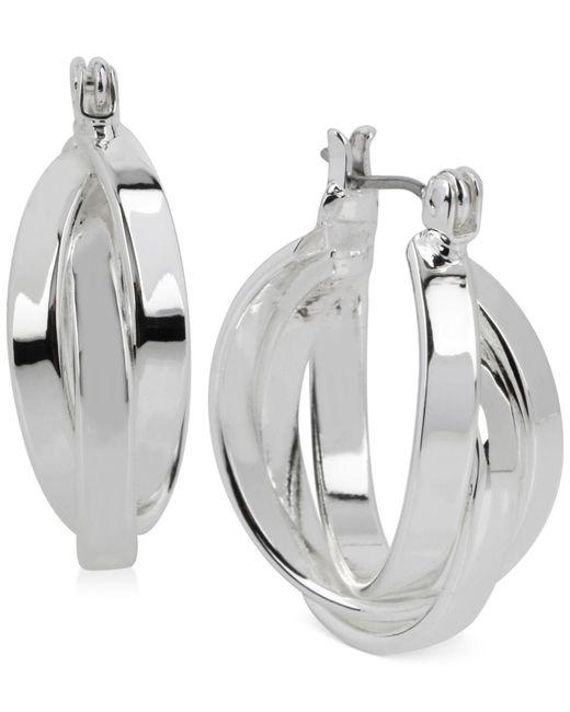 Kenneth Cole | Metallic Silver-tone Multi-row Hoop Earrings | Lyst