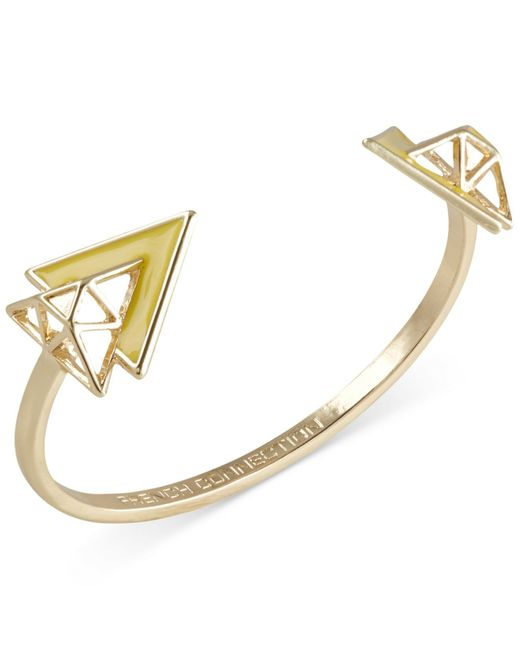 French Connection   Yellow Gold-tone Openwork Triangle Cuff Bracelet   Lyst