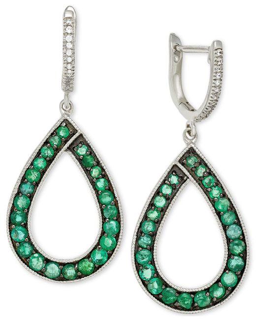 Macy's | Metallic Emerald (1-5/8 Ct. T.w.) And Diamond (1/10 Ct. T.w.) Teardrop Earrings In 14k White Gold | Lyst