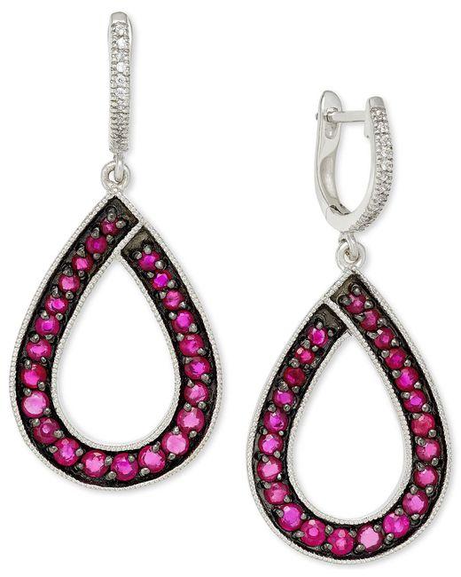 Macy's   Pink Ruby (1-9/10 Ct. T.w.) And Diamond (1/10 Ct. T.w.) Teardrop Earrings In 14k White Gold   Lyst