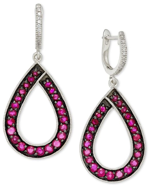 Macy's | Multicolor Ruby (1-9/10 Ct. T.w.) And Diamond (1/10 Ct. T.w.) Teardrop Earrings In 14k White Gold | Lyst