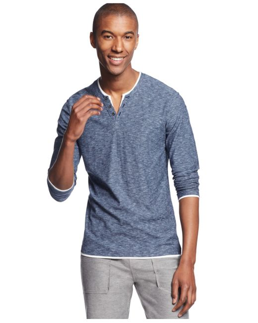 INC International Concepts | Blue Popular Guy Long-sleeve Split-neck T-shirt for Men | Lyst
