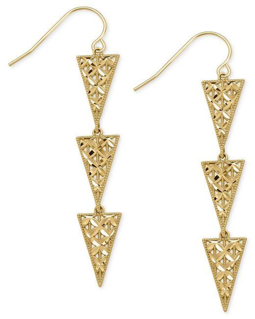 Macy's | Metallic Triple Triangle Drop Earrings In 14k Gold | Lyst