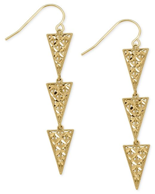 Macy's | Metallic Triple Triangle Drop Earrings In 14k Gold | Lyst