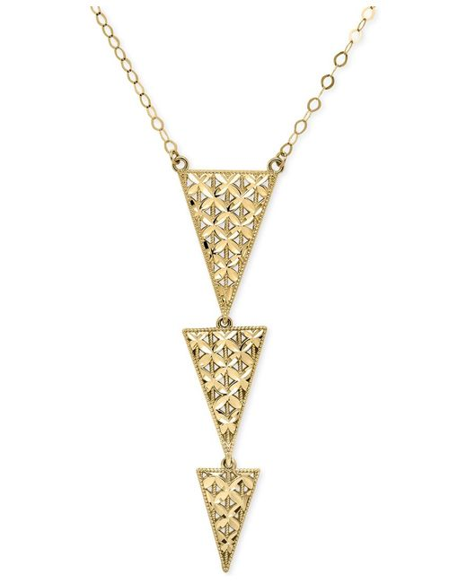 Macy's | Metallic Graduated Triangles Pendant Necklace In 14k Gold | Lyst