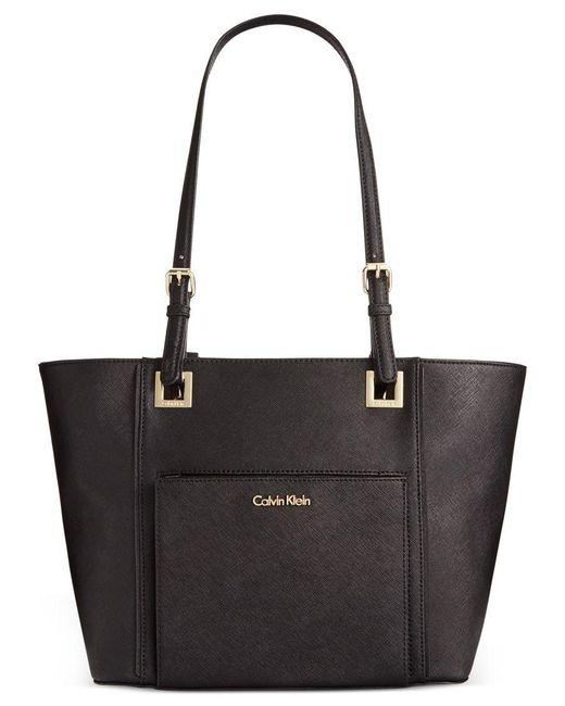 Calvin Klein | Black Saffiano Leather Tote | Lyst