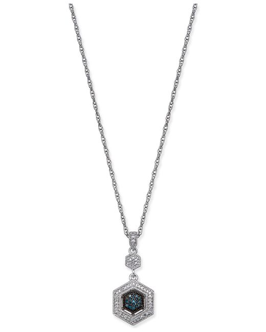 Macy's - Metallic Diamond Hexagon Pendant Necklace (1/8 Ct. T.w.) In Sterling Silver - Lyst