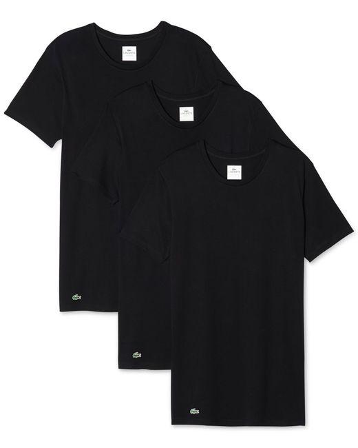 Lacoste | Black Men's Crew-neck Undershirt 3-pack for Men | Lyst