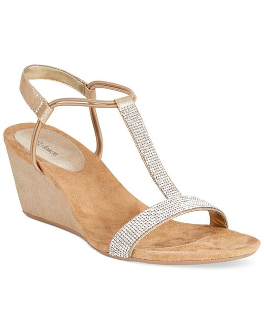 Style & Co. | Natural Style&co. Mulan 2 Embellished Evening Wedge Sandals, Only At Macy's | Lyst