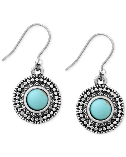 Lucky brand silver tone reconstituted turquoise drop for Macy s lucky brand jewelry