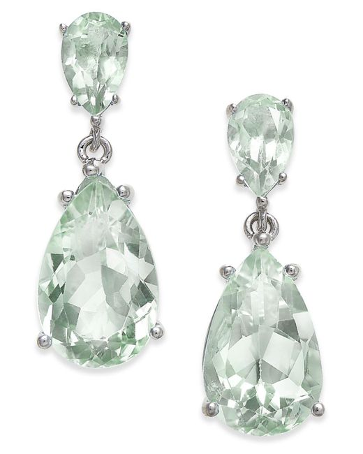 Macy's | Green Gemstone Teardrop Drop Earrings (7 Ct. T.w.) In Sterling Silver | Lyst