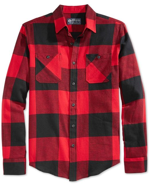 American Rag | Red Men's Buffalo Plaid Flannel Shirt for Men | Lyst