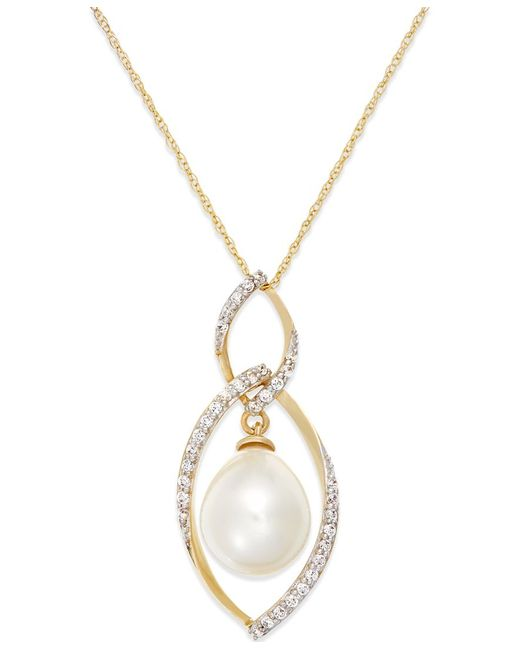 Macy's | Green Cultured Freshwater Pearl (9mm) And Diamond (1/4 Ct. T.w.) Pendant Necklace In 14k Gold | Lyst