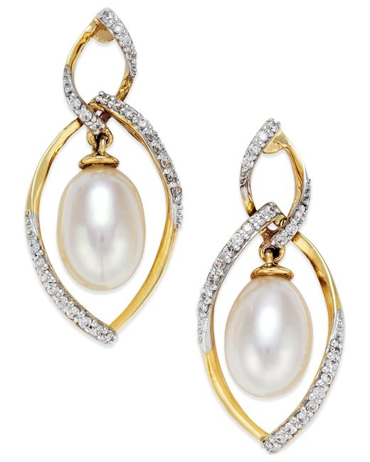 Macy's | Metallic Cultured Freshwater Pearl (7mm) And Diamond (1/4 Ct. T.w.) Drop Earrings In 14k Gold | Lyst