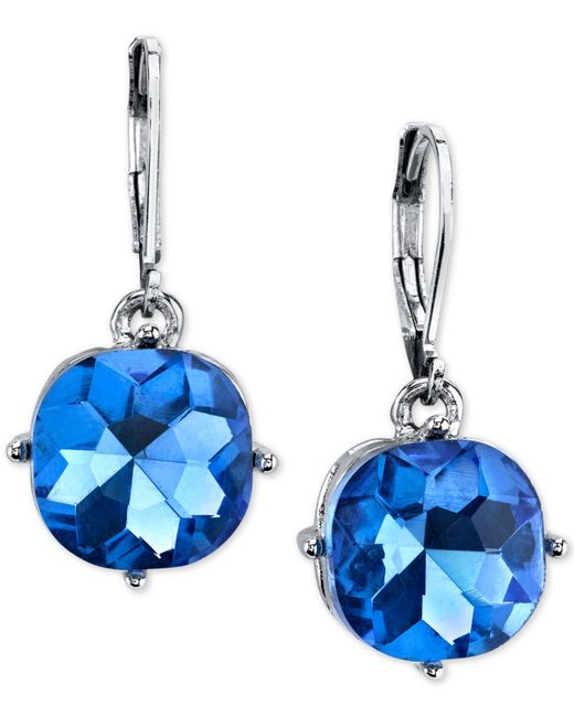 2028 | Silver-tone Blue Stone Drop Earrings | Lyst