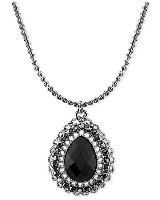 2028 | Metallic Silver-tone Black Stone Teardrop Pendant Necklace | Lyst