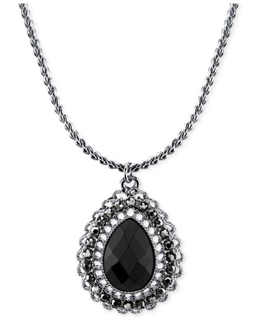 2028 | Metallic Silver-tone Black Stone Teardrop Pendant Necklace | Lyst