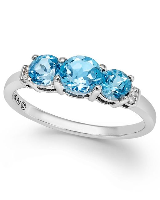 Macy's | Blue Topaz (1-1/4 Ct. T.w.) And Diamond Accent Three-stone Ring In Sterling Silver | Lyst