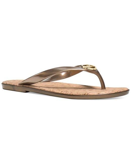 Michael Kors | Metallic Michael Mk Jet Set Jelly Flat Sandals | Lyst