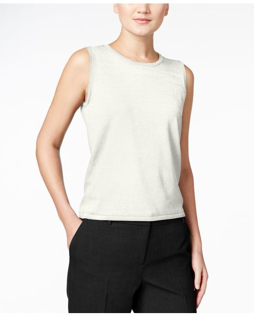 Calvin Klein | Natural Sleeveless Crew-neck Shell | Lyst