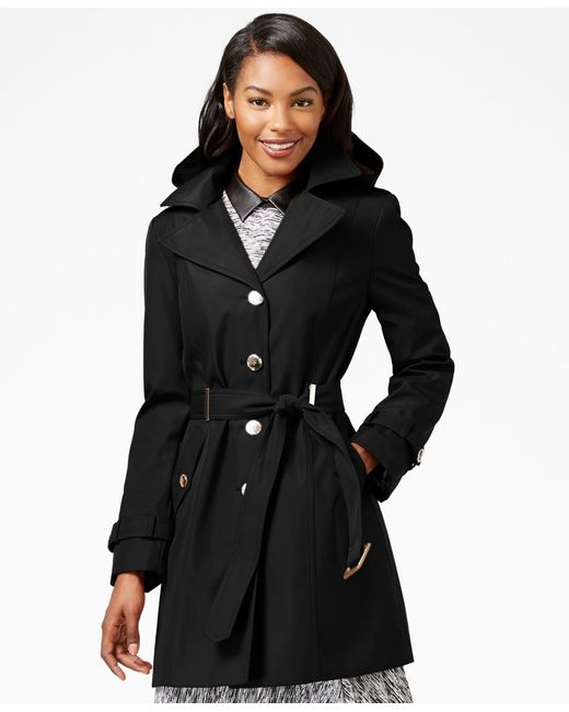 Calvin Klein   Black Single-Breasted Water-Resistant Trench Coat   Lyst