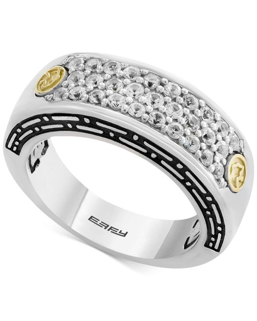 Effy Collection - Metallic Men's White Sapphire Cluster Ring (1 Ct. T.w.) In Sterling Silver & 18k Gold - Lyst