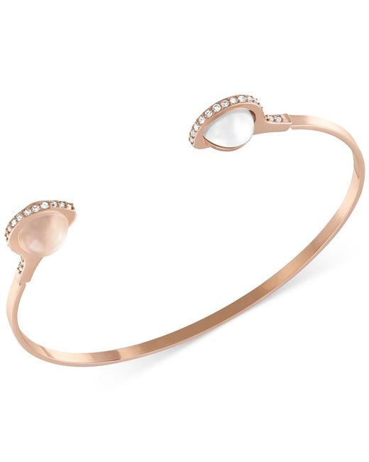 Swarovski | Metallic Gold-tone Imitation Pearl And Crystal Bangle Bracelet | Lyst