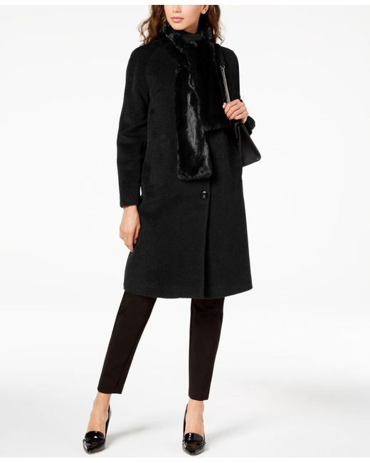 Jones New York - Black Walker Coat With Faux Fur Scarf - Lyst