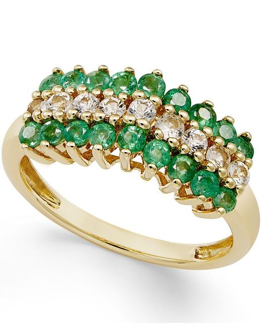 Macy's   Multicolor Emerald (5/8 Ct. T.w.) And White Sapphire (1/3 Ct. T.w.) Ring In 10k Gold   Lyst