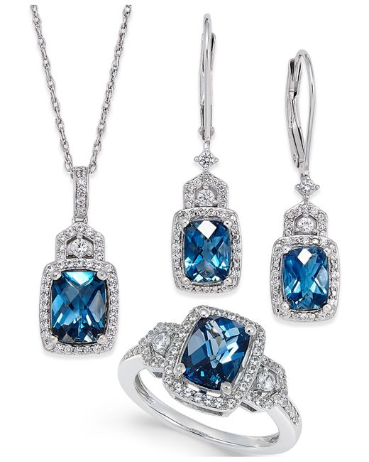 Macy's | Metallic London Blue Topaz (4-3/5 Ct. T.w.) And White Topaz (7/8 Ct. T.w.) Jewelry Set In Sterling Silver | Lyst