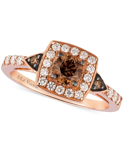 Le Vian | Red Chocolate Diamond And White Diamond Ring In 14k Rose Gold (7/8 Ct. T.w.) | Lyst