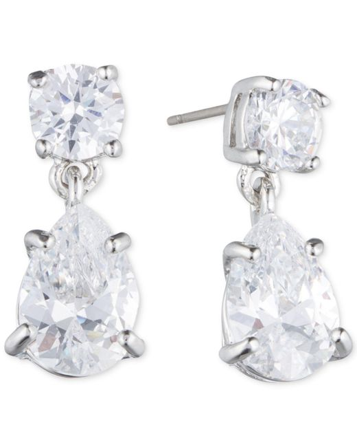 Givenchy | Metallic Silver-tone Crystal Pear-shape Earrings | Lyst