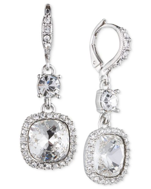 Givenchy | Metallic Silver-tone Crystal Cushion Drop Earrings | Lyst