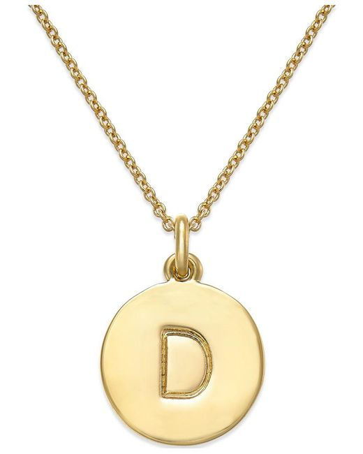 "kate spade new york | Metallic 17"" 12k Gold-plated Initials Pendant Necklace 
