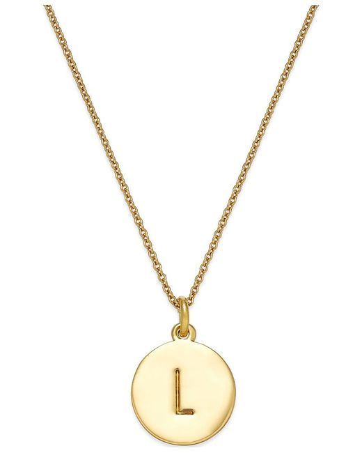 kate spade new york | Metallic 12k Gold-plated Initials Pendant Necklace | Lyst