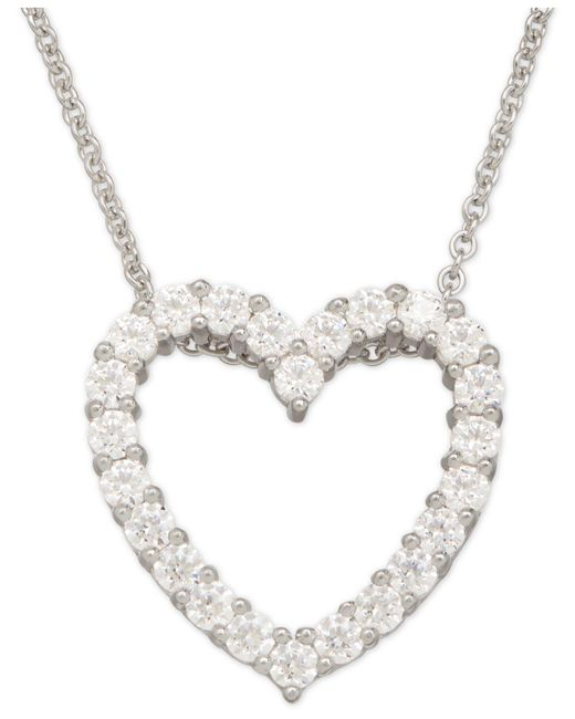 Macy's - Metallic Cubic Zirconia Heart Pendant Necklace In Sterling Silver - Lyst