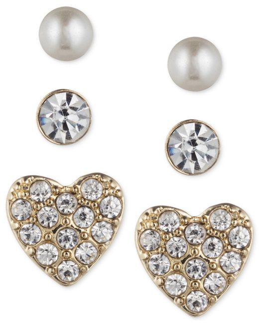 Lonna & Lilly | Metallic Trio Set Of Small Stud Earrings | Lyst