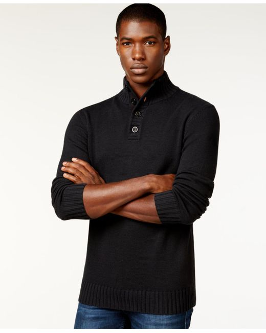 Sean John | Black Button-neck Sweater for Men | Lyst