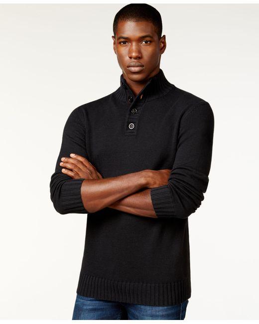 Sean John | Black Button-neck Sweater for Men | Lyst
